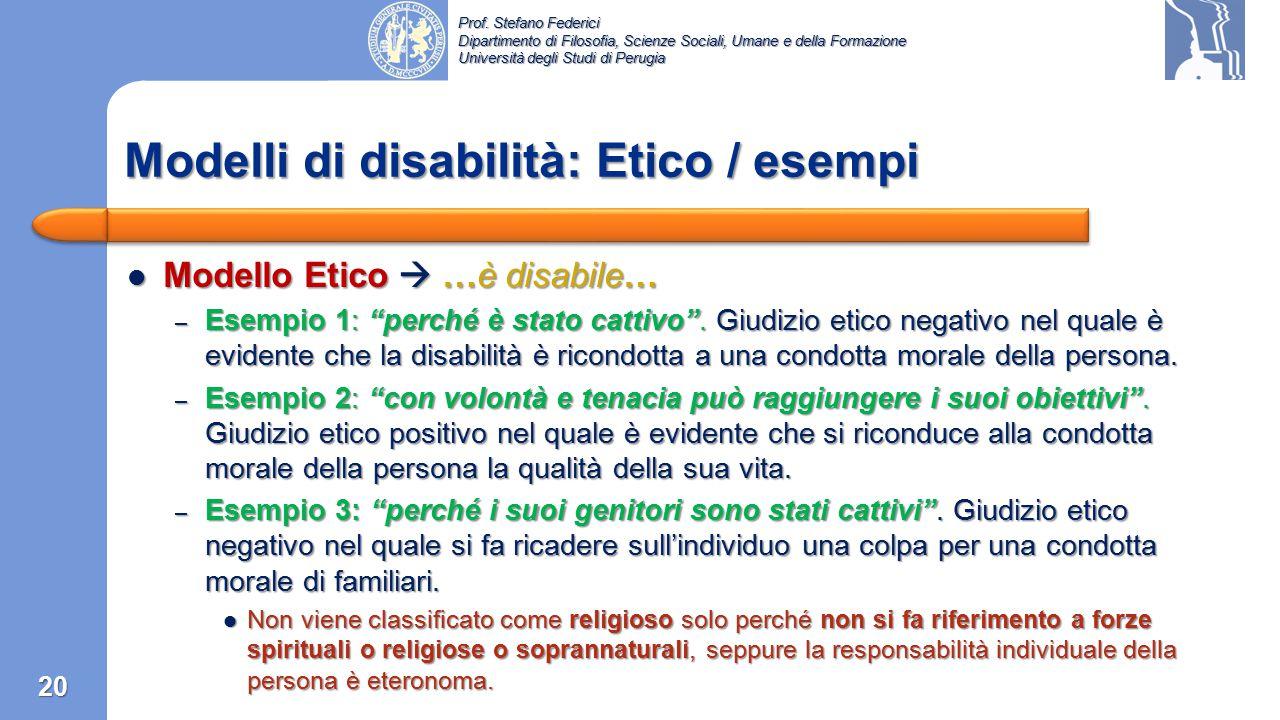 Modelli di disabilità: Etico / esempi