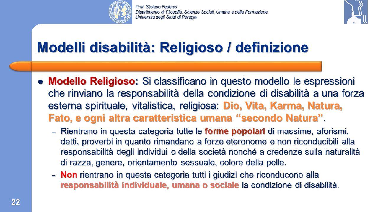 Modelli disabilità: Religioso / definizione