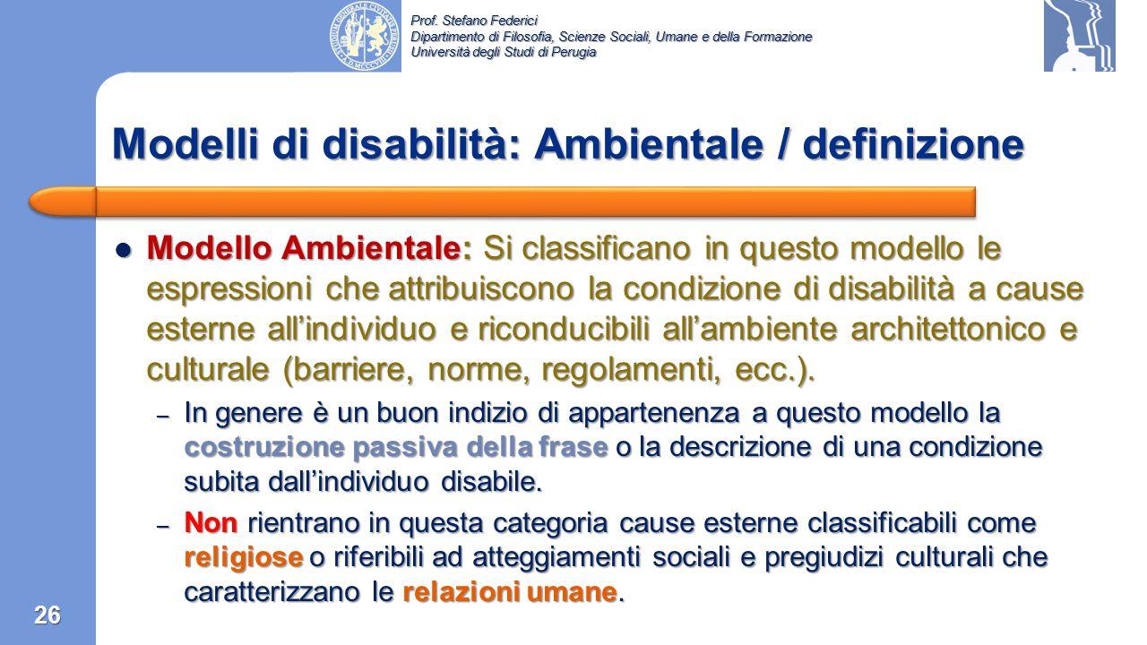 Modelli di disabilità: Ambientale / definizione
