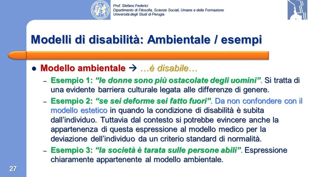 Modelli di disabilità: Ambientale / esempi