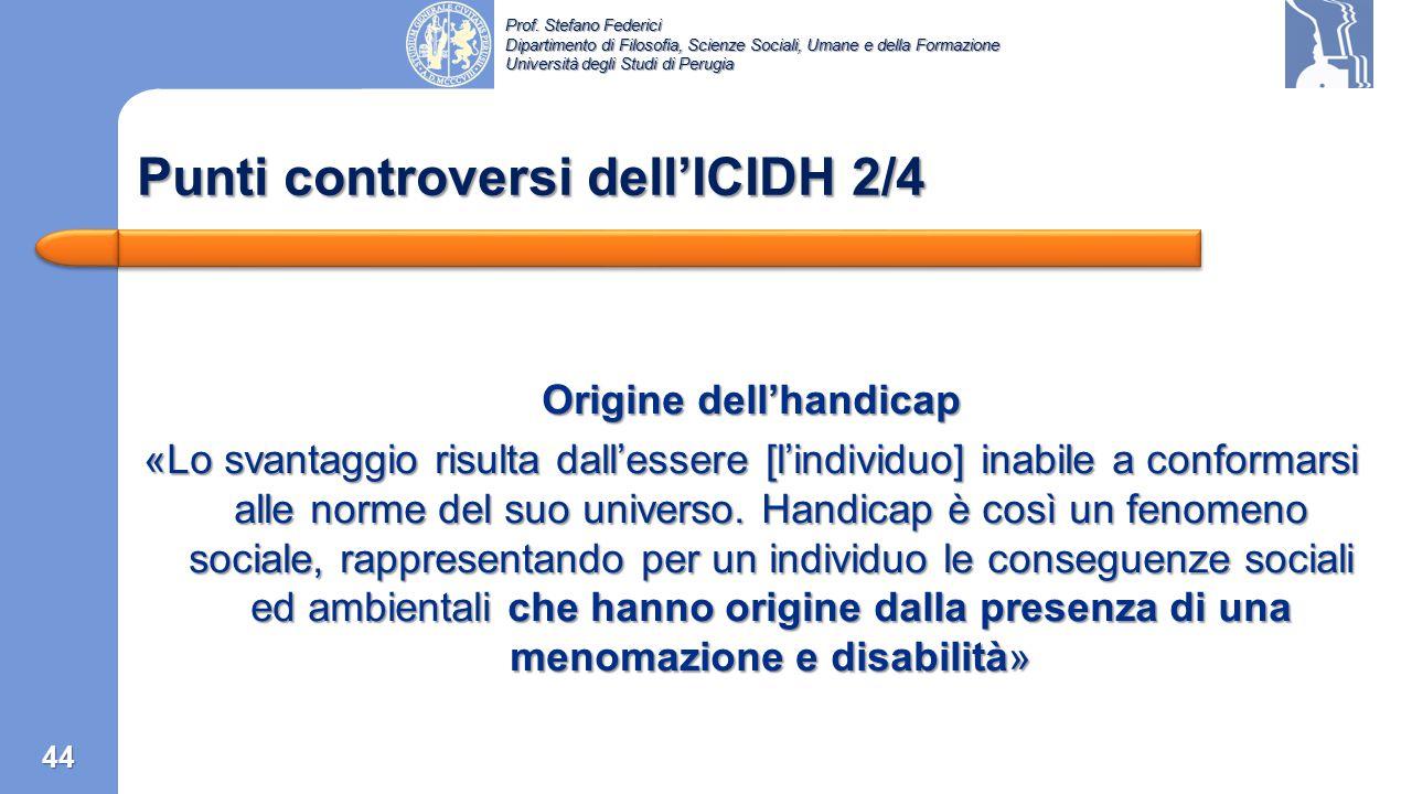Punti controversi dell'ICIDH 2/4