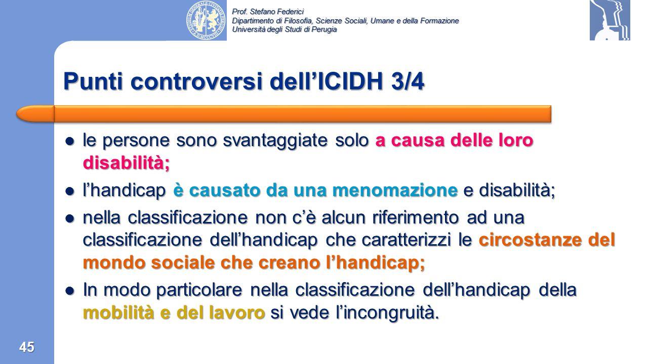 Punti controversi dell'ICIDH 3/4
