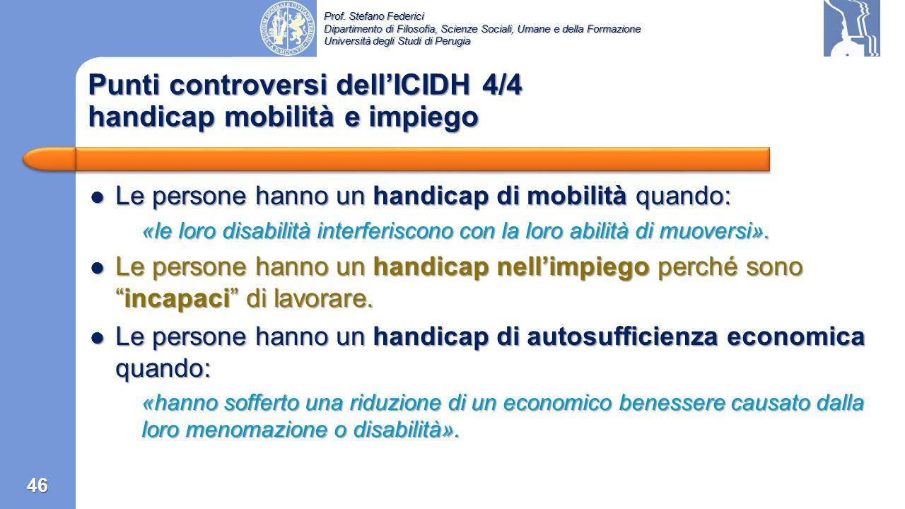 Punti controversi dell'ICIDH 4/4 handicap mobilità e impiego