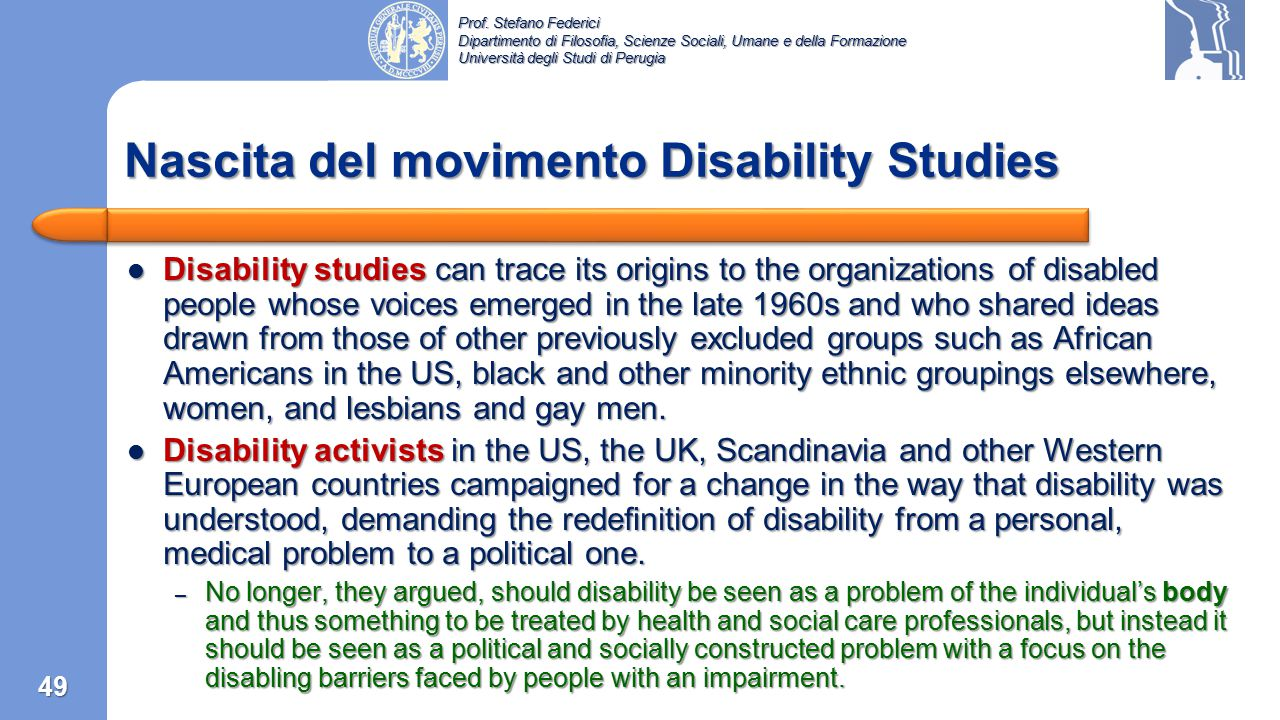 Nascita del movimento Disability Studies