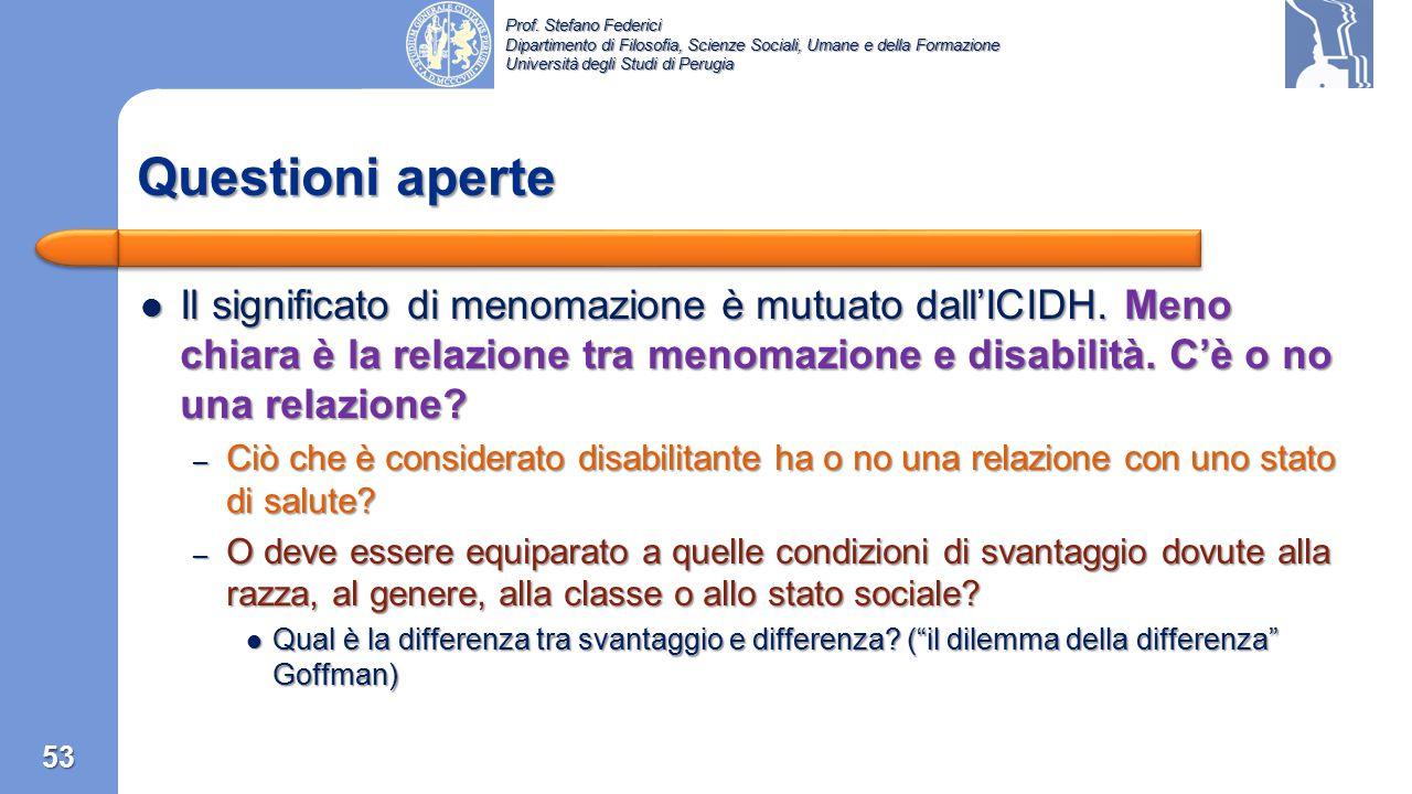 Questioni aperte Il significato di menomazione è mutuato dall'ICIDH. Meno chiara è la relazione tra menomazione e disabilità. C'è o no una relazione