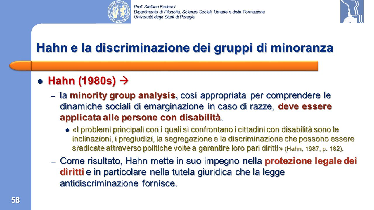 Hahn e la discriminazione dei gruppi di minoranza
