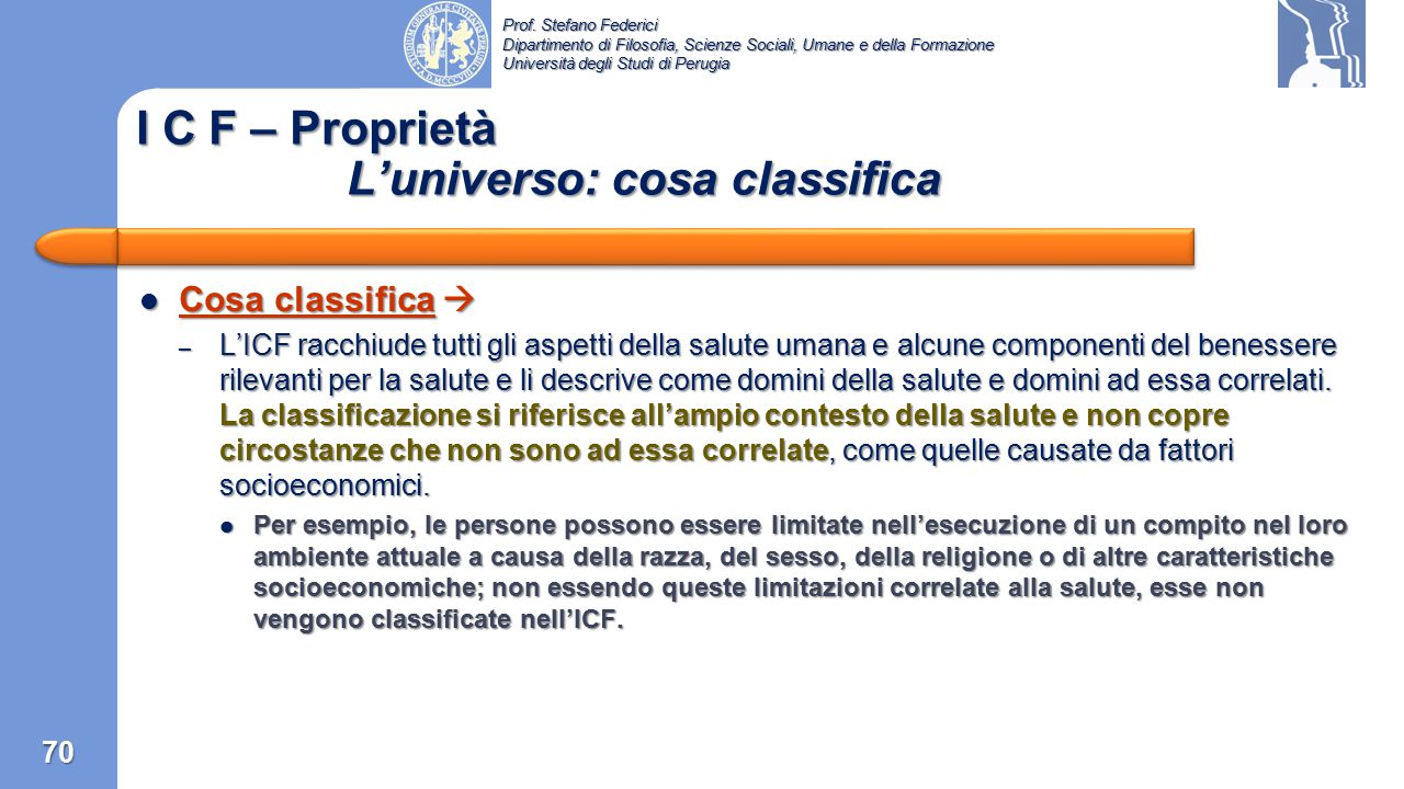 I C F – Proprietà L'universo: cosa classifica