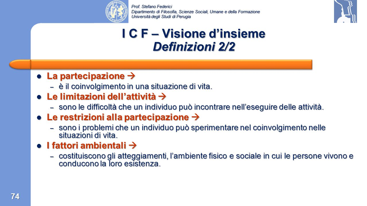 I C F – Visione d'insieme Definizioni 2/2