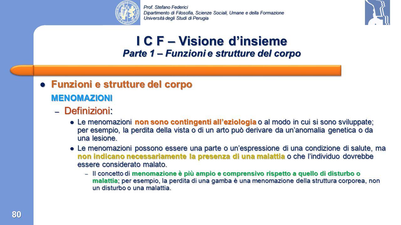I C F – Visione d'insieme Parte 1 – Funzioni e strutture del corpo