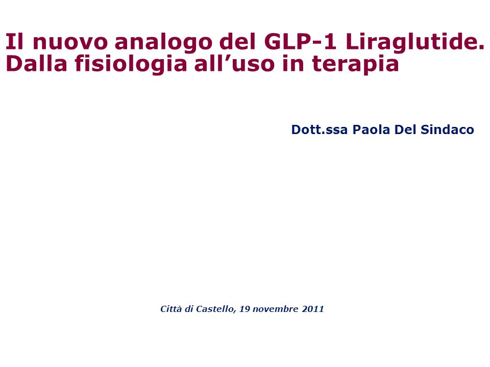 Dott.ssa Paola Del Sindaco Città di Castello, 19 novembre 2011