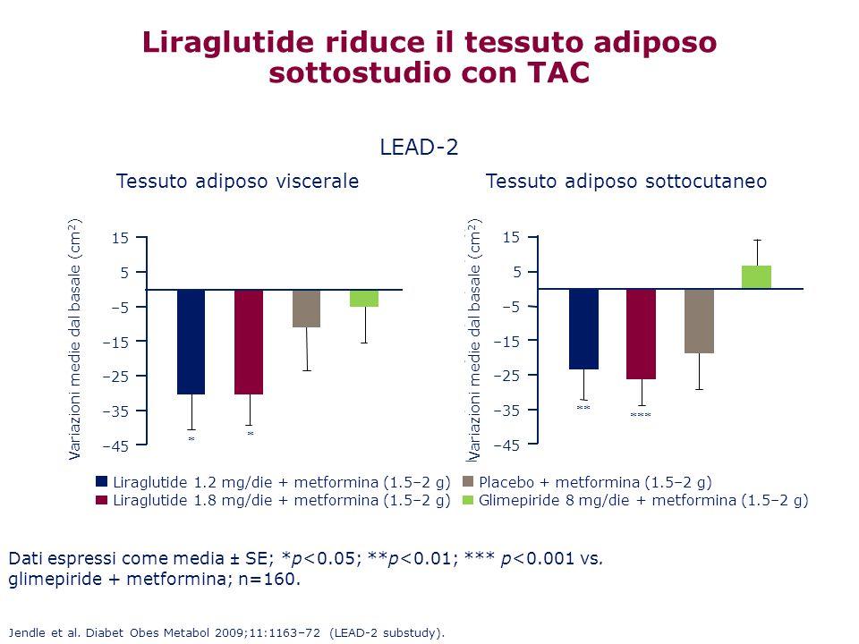 Liraglutide riduce il tessuto adiposo sottostudio con TAC