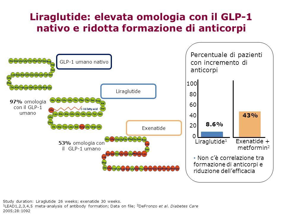 Liraglutide: elevata omologia con il GLP-1 nativo e ridotta formazione di anticorpi