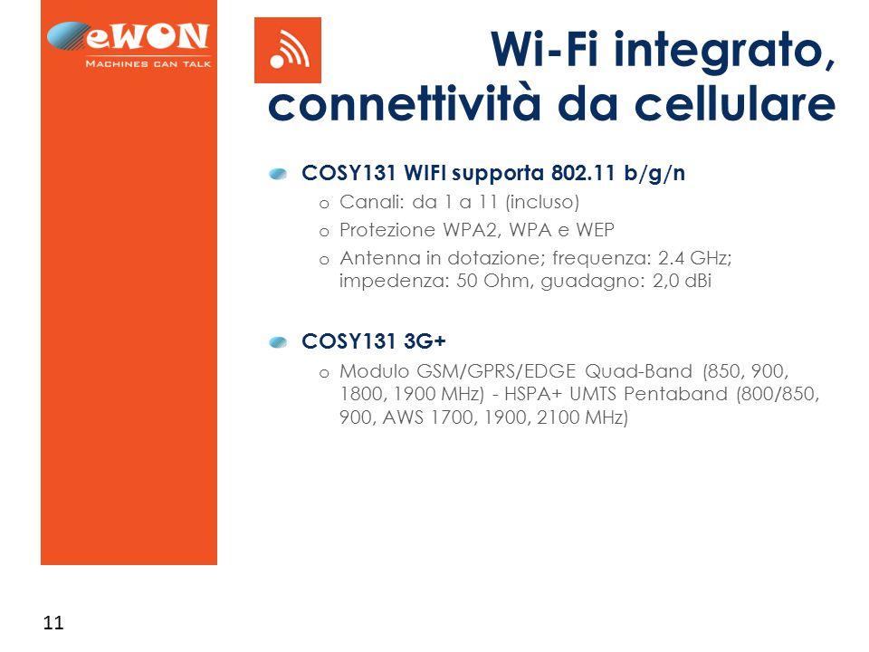 Wi-Fi integrato, connettività da cellulare
