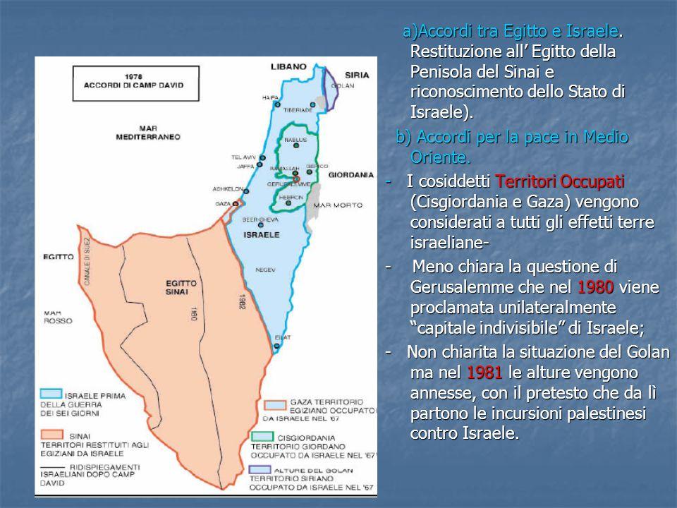 a)Accordi tra Egitto e Israele