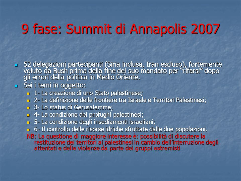 9 fase: Summit di Annapolis 2007