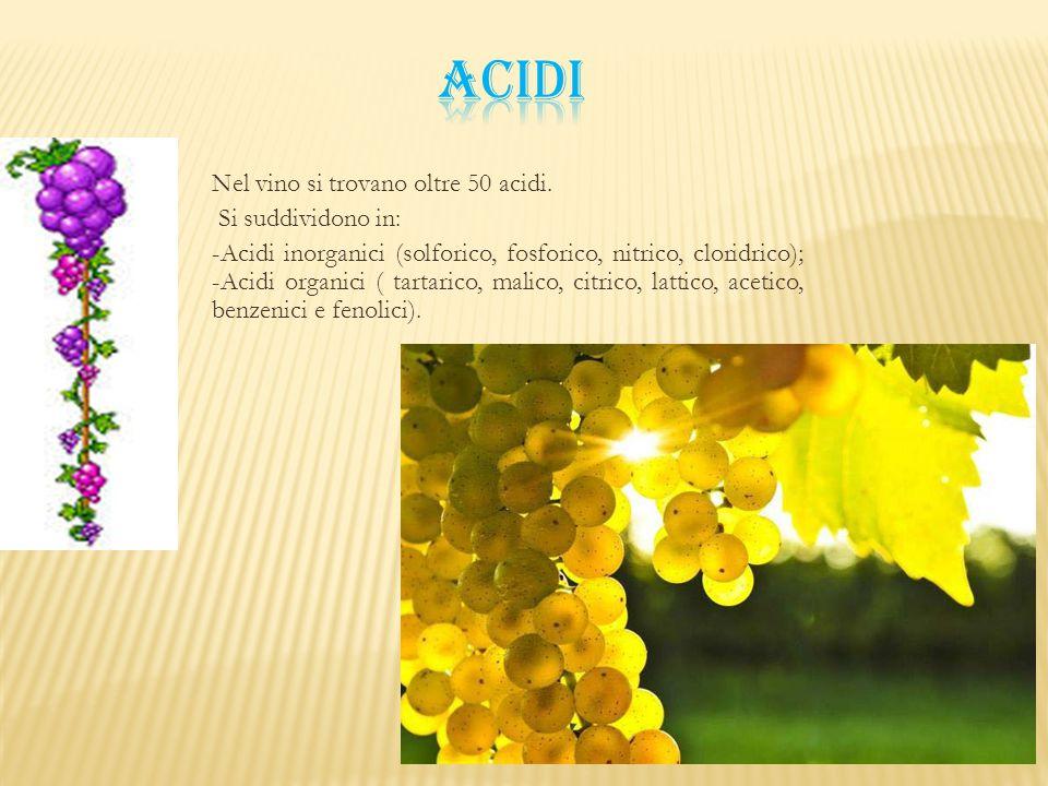 ACIDI Nel vino si trovano oltre 50 acidi. Si suddividono in: