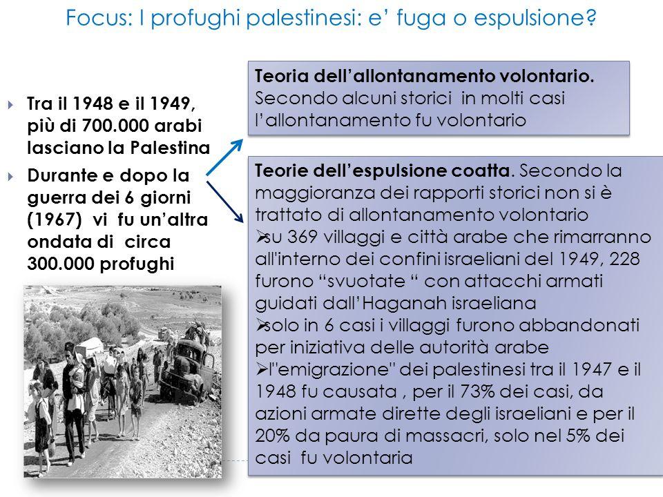 Focus: I profughi palestinesi: e' fuga o espulsione
