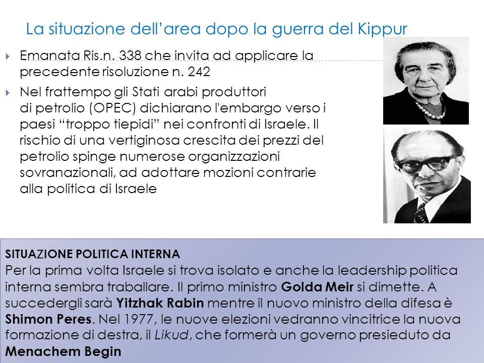 La situazione dell'area dopo la guerra del Kippur