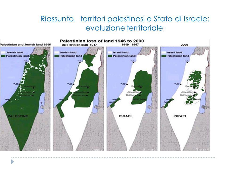 Riassunto. territori palestinesi e Stato di Israele: evoluzione territoriale;