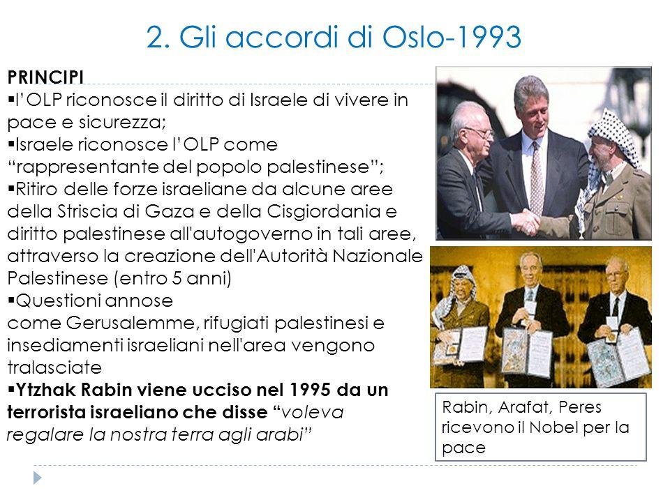 2. Gli accordi di Oslo-1993 PRINCIPI