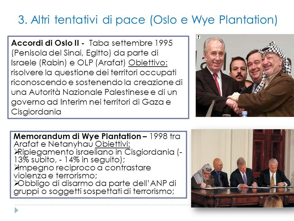 3. Altri tentativi di pace (Oslo e Wye Plantation)