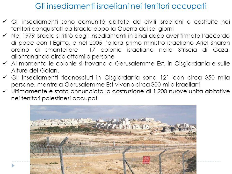 Gli insediamenti israeliani nei territori occupati