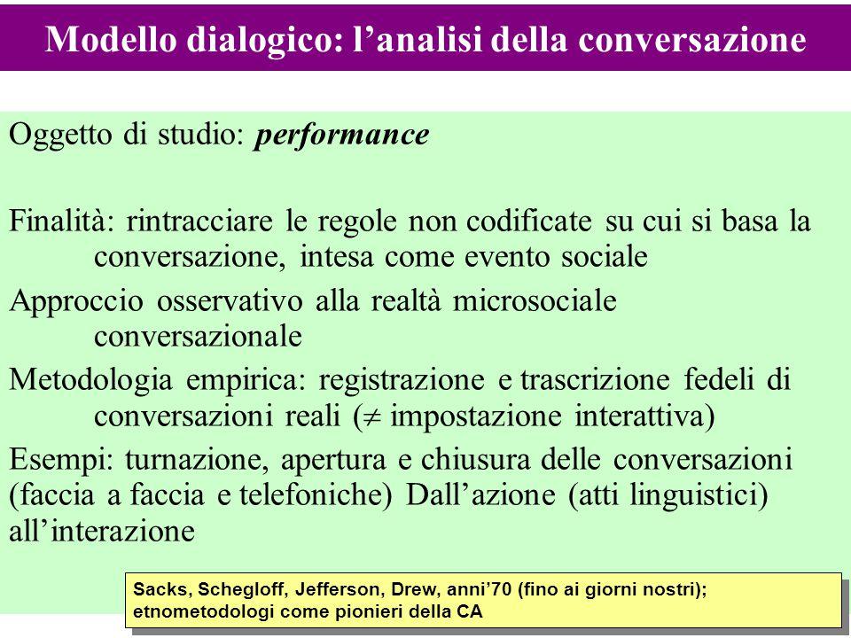 Modello dialogico: l'analisi della conversazione