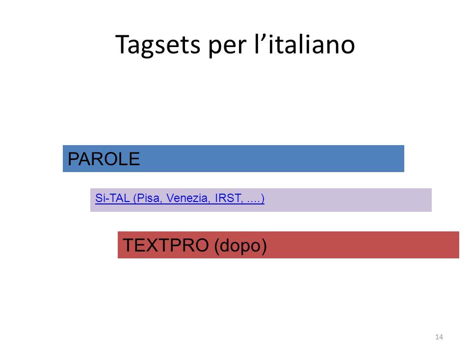 Tagsets per l'italiano
