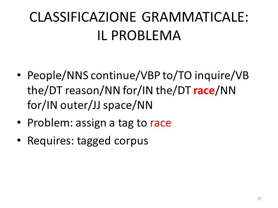 CLASSIFICAZIONE GRAMMATICALE: IL PROBLEMA