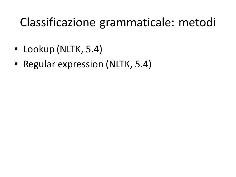 Classificazione grammaticale: metodi
