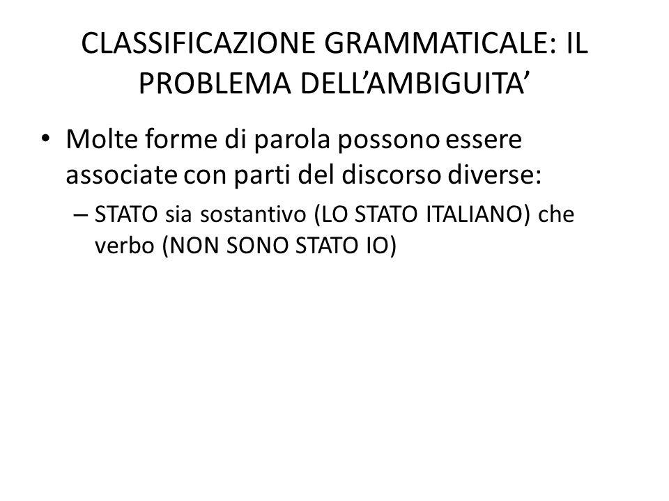 CLASSIFICAZIONE GRAMMATICALE: IL PROBLEMA DELL'AMBIGUITA'