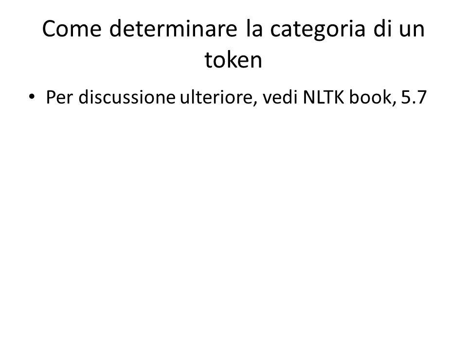Come determinare la categoria di un token