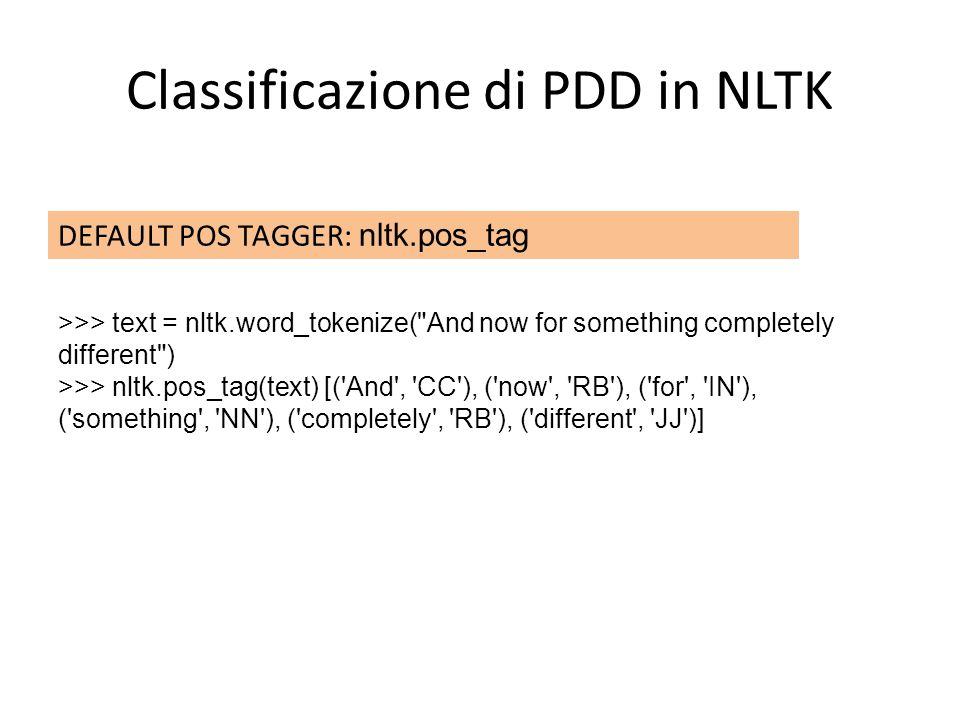 Classificazione di PDD in NLTK