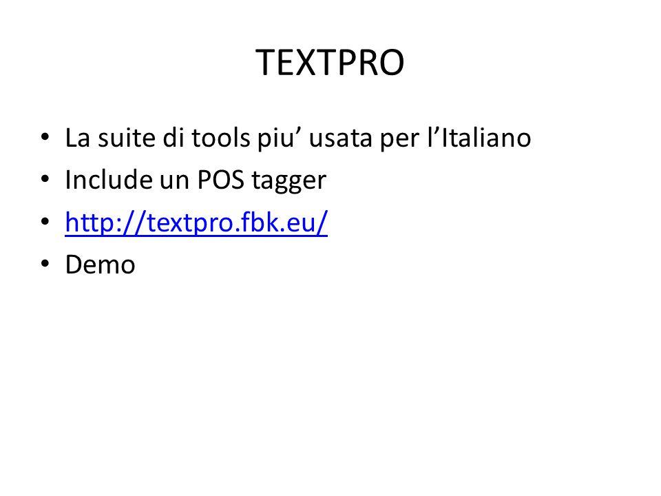 TEXTPRO La suite di tools piu' usata per l'Italiano