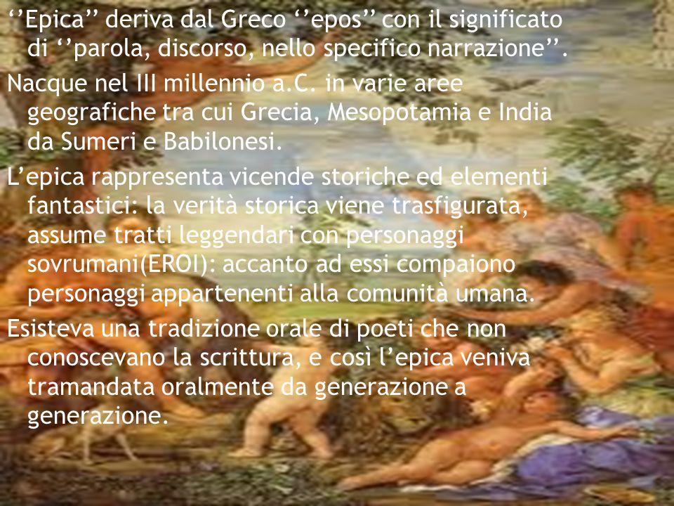 ''Epica'' deriva dal Greco ''epos'' con il significato di ''parola, discorso, nello specifico narrazione''.
