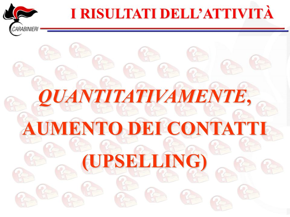 QUANTITATIVAMENTE, AUMENTO DEI CONTATTI (UPSELLING)