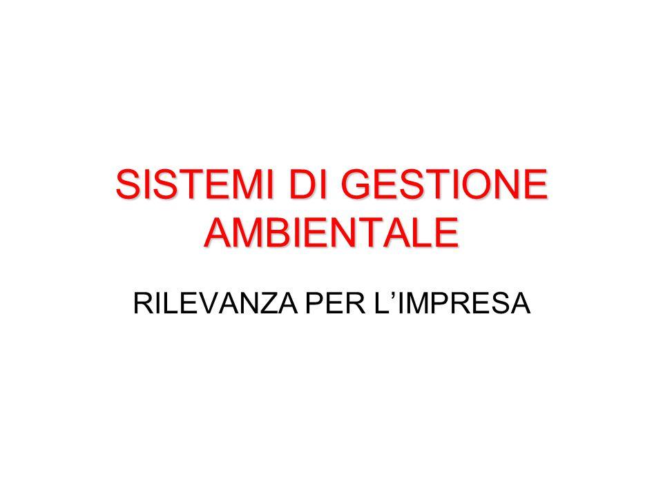 SISTEMI DI GESTIONE AMBIENTALE
