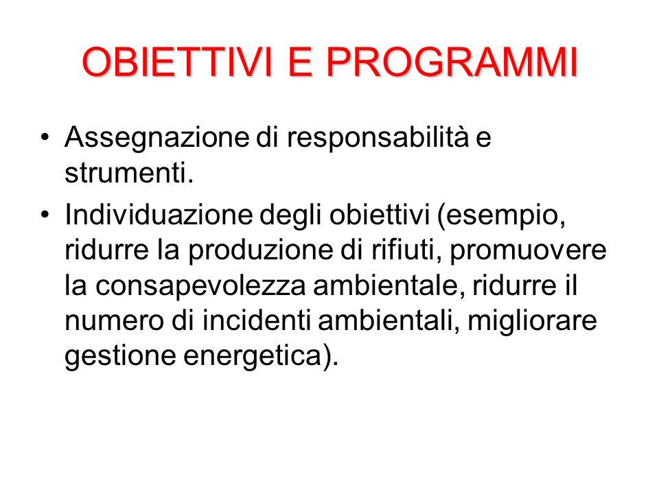 OBIETTIVI E PROGRAMMI Assegnazione di responsabilità e strumenti.