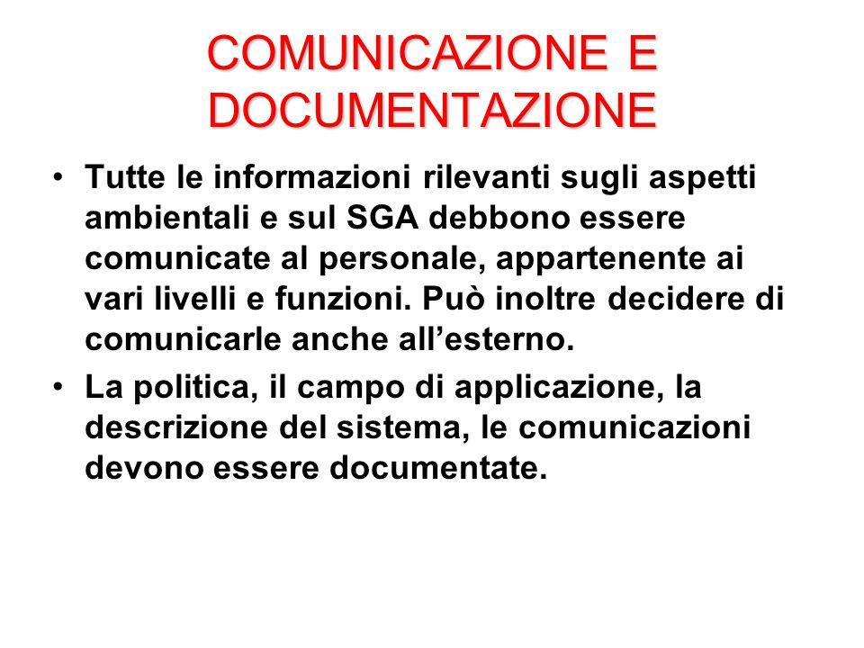 COMUNICAZIONE E DOCUMENTAZIONE