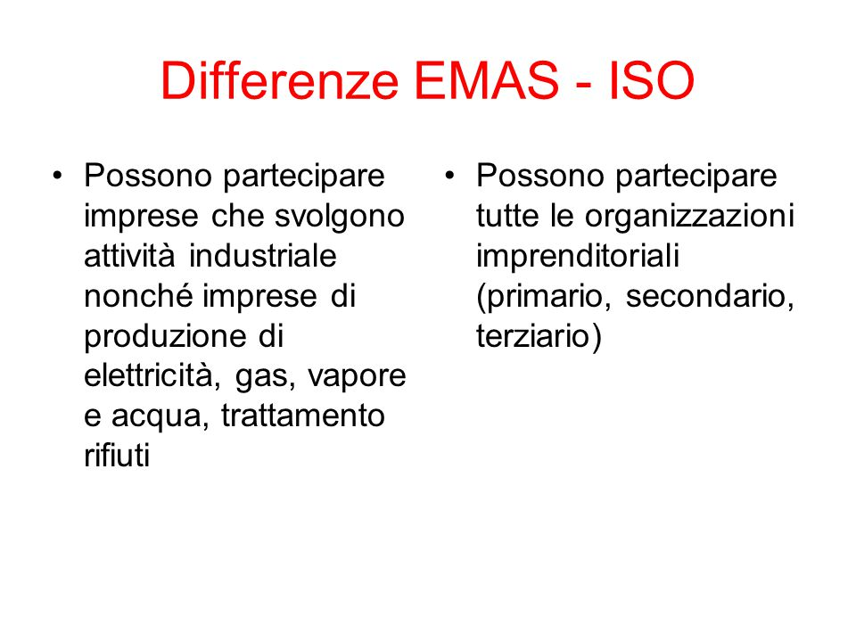 Differenze EMAS - ISO