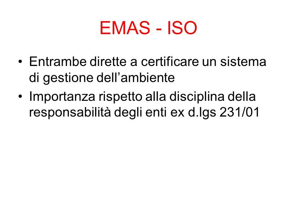 EMAS - ISO Entrambe dirette a certificare un sistema di gestione dell'ambiente.