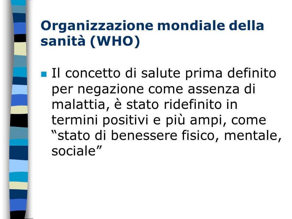 Organizzazione mondiale della sanità (WHO)