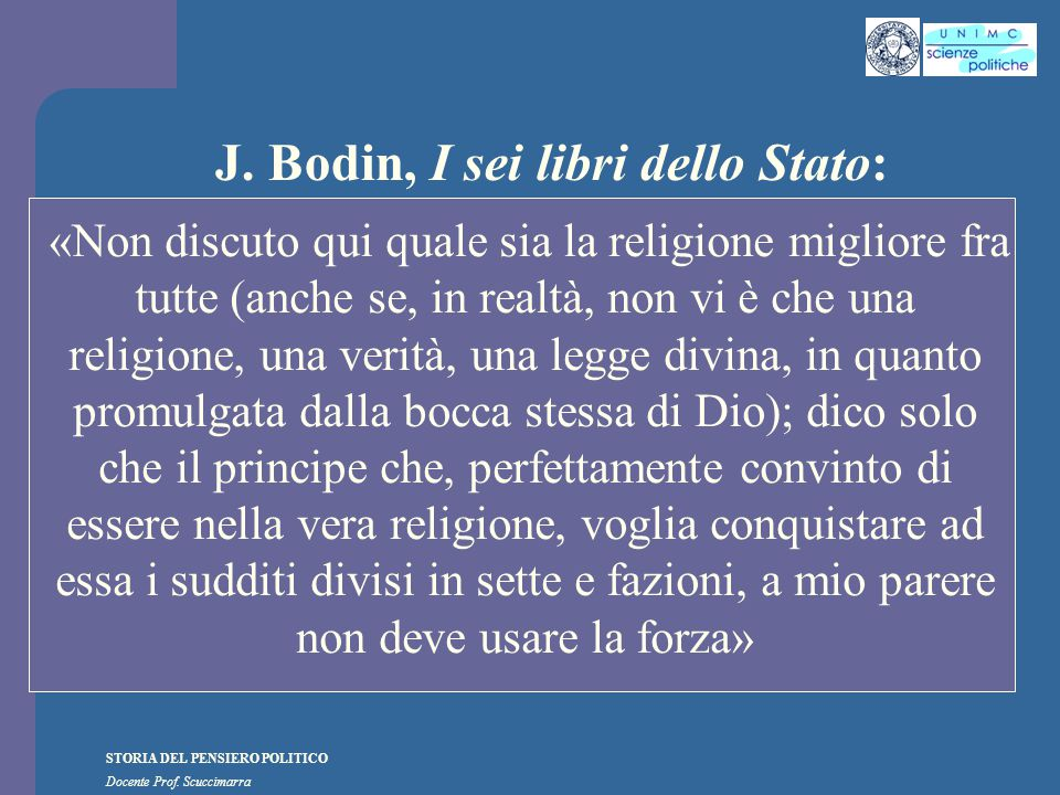 J. Bodin, I sei libri dello Stato: