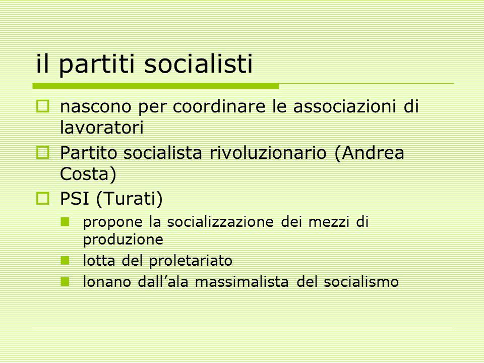 il partiti socialisti nascono per coordinare le associazioni di lavoratori. Partito socialista rivoluzionario (Andrea Costa)