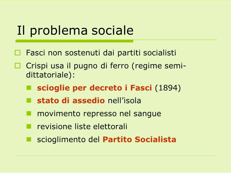 Il problema sociale Fasci non sostenuti dai partiti socialisti