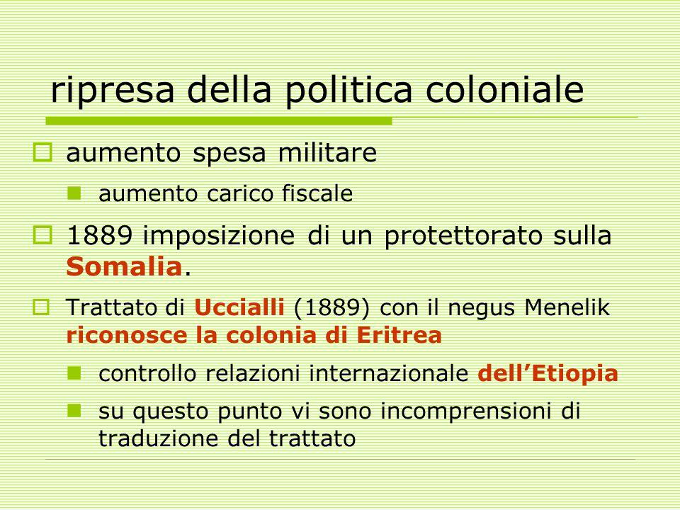 ripresa della politica coloniale