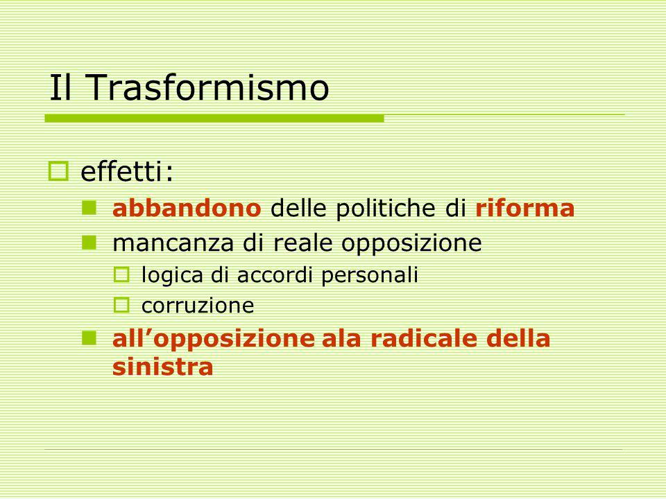 Il Trasformismo effetti: abbandono delle politiche di riforma