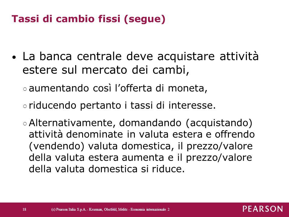 Tassi di cambio fissi (segue)