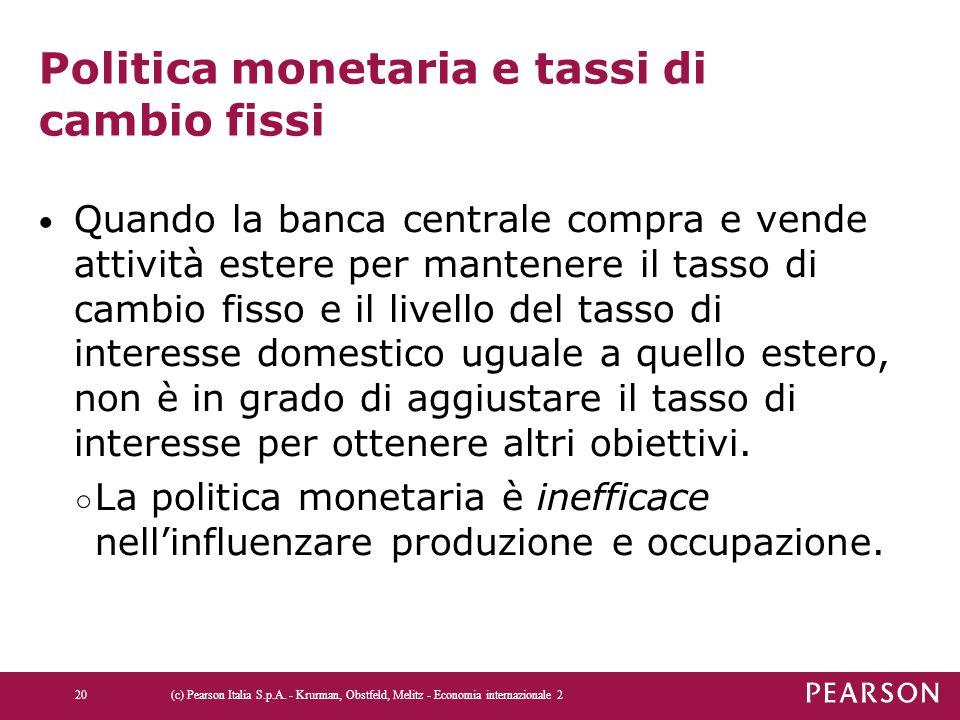 Politica monetaria e tassi di cambio fissi
