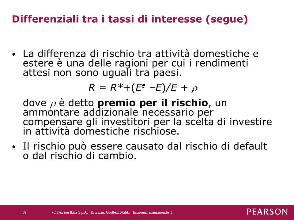 Differenziali tra i tassi di interesse (segue)